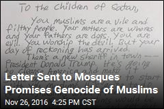Letter Sent to Mosques Promises Genocide of Muslims