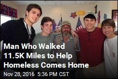 Man Who Walked 11.5K Miles to Help Homeless Comes Home