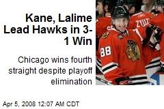Kane, Lalime Lead Hawks in 3-1 Win