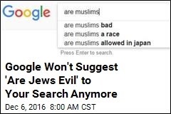 Google Won't Suggest 'Are Jews Evil' to Your Search Anymore