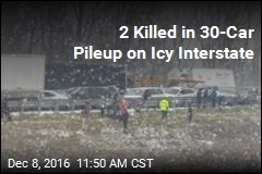 2 Killed in 30-Car Pileup on Icy Interstate