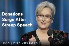 Donations Surge After Streep Speech