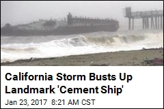 California Storm Busts Up Landmark 'Cement Ship'