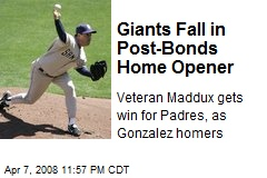 Giants Fall in Post-Bonds Home Opener