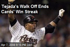 Tejada's Walk Off Ends Cards' Win Streak