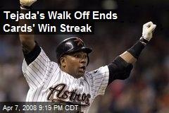 Tejada's Walk Off Ends Cards' Win Streak