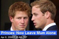 Princes: Now Leave Mum Alone