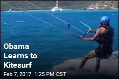 Obama Learns to Kitesurf