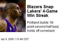 Blazers Snap Lakers' 4-Game Win Streak