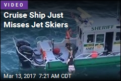 Cruise Ship Just Misses Jet Skiers