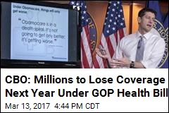 CBO: 14M to Lose Coverage Next Year Under GOP Health Bill