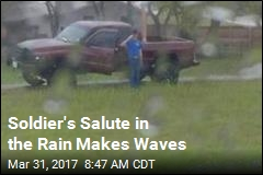 Soldier's Salute in the Rain Makes Waves