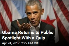 Obama Returns to Public Spotlight With a Quip