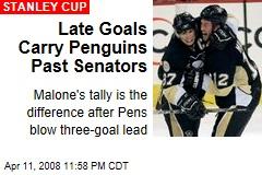 Late Goals Carry Penguins Past Senators