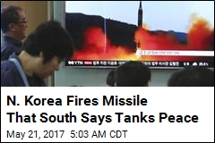 N. Korea Fires Missile That South Says Tanks Peace