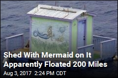Shed With Mermaid on It Apparently Floated 200 Miles