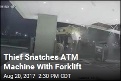 Thief Snatches ATM Machine With Forklift