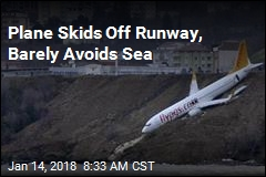 Plane Skids Off Runway, Barely Avoids Sea
