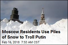 Moscow Residents Use Piles of Snow to Troll Putin