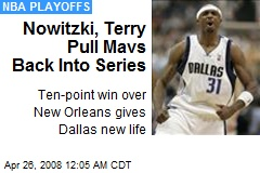 Nowitzki, Terry Pull Mavs Back Into Series