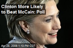 Clinton More Likely to Beat McCain: Poll