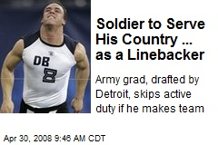 Soldier to Serve His Country ... as a Linebacker
