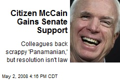 Citizen McCain Gains Senate Support