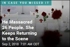 He Massacred 26 People. She Keeps Returning to the Scene