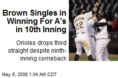 Brown Singles in Winning For A's in 10th Inning