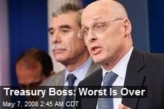 Treasury Boss: Worst Is Over