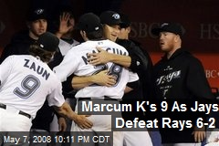 Marcum K's 9 As Jays Defeat Rays 6-2