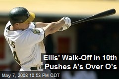 Ellis' Walk-Off in 10th Pushes A's Over O's