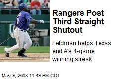 Rangers Post Third Straight Shutout