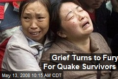 Grief Turns to Fury For Quake Survivors
