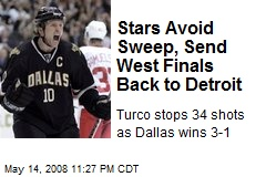Stars Avoid Sweep, Send West Finals Back to Detroit