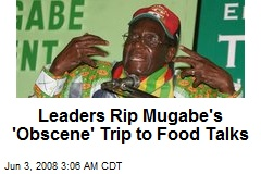 Leaders Rip Mugabe's 'Obscene' Trip to Food Talks