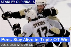 Pens Stay Alive in Triple OT Win