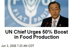 UN Chief Urges 50% Boost in Food Production