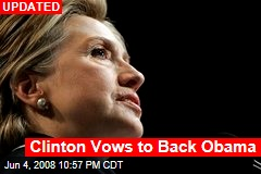 Clinton Vows to Back Obama