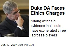 Duke DA Faces Ethics Charges