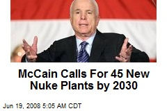 McCain Calls For 45 New Nuke Plants by 2030