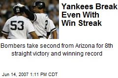 Yankees Break Even With Win Streak