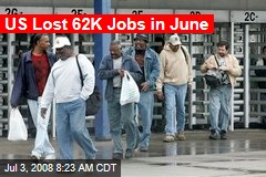US Lost 62K Jobs in June