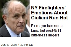 NY Firefighters' Emotions About Giuliani Run Hot