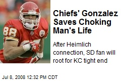 Chiefs' Gonzalez Saves Choking Man's Life