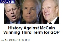 History Against McCain Winning Third Term for GOP
