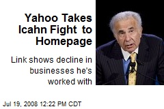 Yahoo Takes Icahn Fight to Homepage