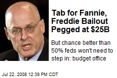 Tab for Fannie, Freddie Bailout Pegged at $25B