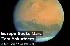 Europe Seeks Mars Test Volunteers