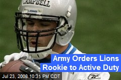 Army Orders Lions Rookie to Active Duty